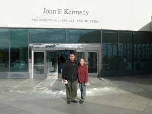 My wife and I outside the JFK Presidential Library and Museum