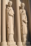 Sculptures of St. Thomas Aquinas and St. Augustine on an early 20th century Cathedral